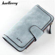 Baellerry Scrub Leather Wallet Women 2017 Three Bifold Big Capacity Nubuck Coin Purse Snap Fastener Solid