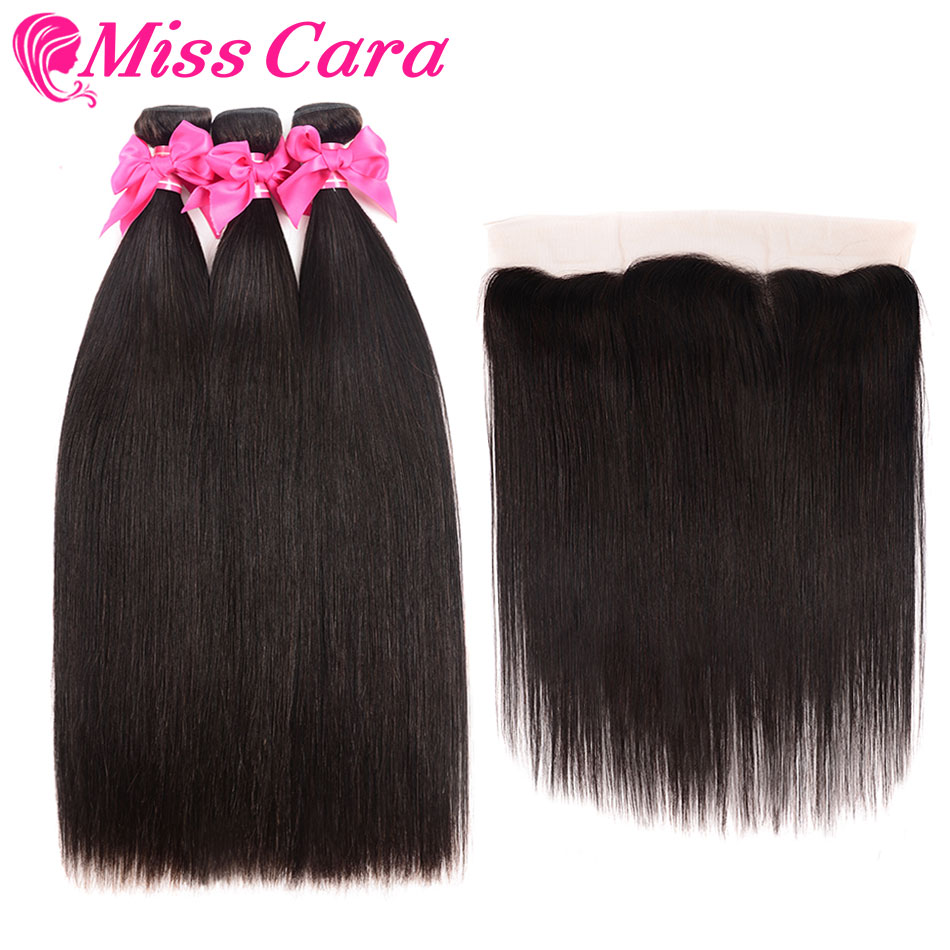 Brazilian Straight Hair Bundles With Frontal Miss Cara Remy Human Hair 3 4 Bundles With Closure