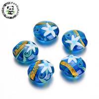 Handmade Lampwork Beads, Flat Round with Starfish Pattern, DodgerBlue, 20~21x9~11mm, Hole: 2mm; about 12pcs/box