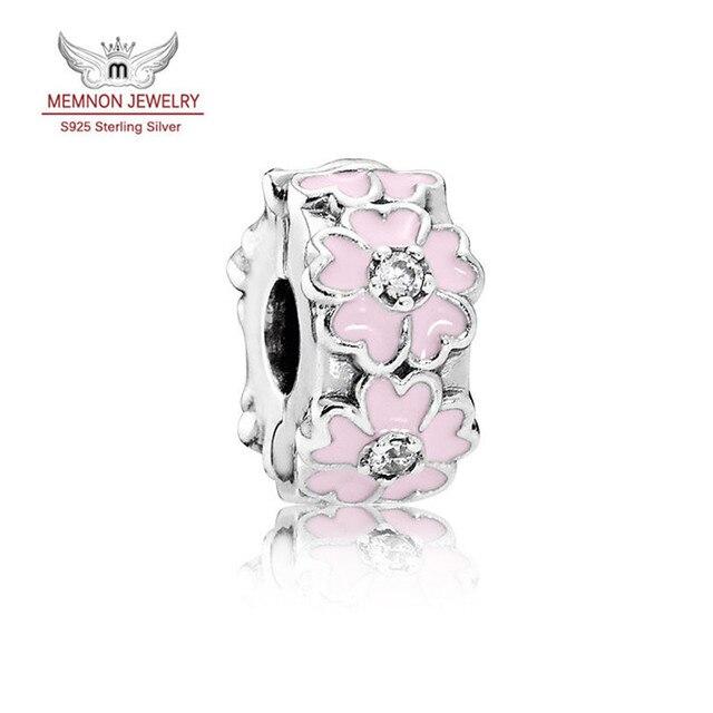 Nueva Primavera Pink Primavera Clip charm 925 plata esterlina encantos Del Esmalte cupieron la pulsera de DIY que hace joyería Fina KT854