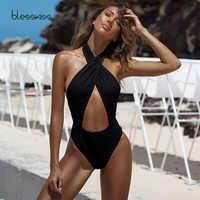 Traje de baño Sexy de una pieza para mujer 2019 Halter cruzado Tanga de corte alto Onepiece Monokini traje de baño Trikini negro