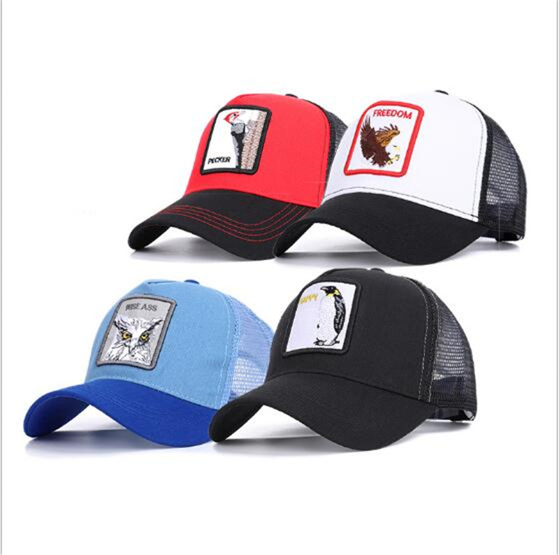 New Fashion Women Men Baseball Cap Breathable Mesh Caps Unisex Snapback Embroidery Animals Summer Hat