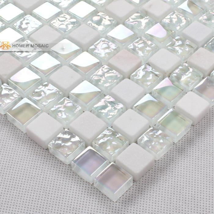 elegant pure white glass mixed stone mosaic tiles bathroom tiles