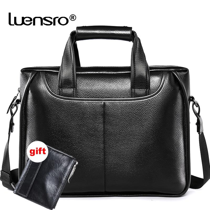 LUENSRO 2018 New Fashion Men s Briefcase Genuine Leather Male Business bag Handbag Black Office Bags