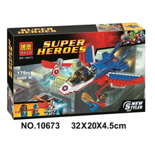 10673 Bela Marvel Super Heroes Captain America Jet Pursuit Adaptoid Building Block Bricks Toys Gift For Children 76076
