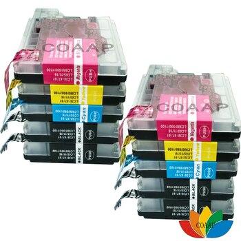 10x compatível do cartucho de tinta para brother lc 38 67 61 65 980 990 67 1100 xl cartucho de tinta para brother dcp 185c 195c 9805c impressora