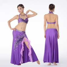 2pcs Suit Professional Egyptian Belly Dance Costume Set Top Bra C/D Cup Wrapped Skirt Long Bellydance Costumes Performance