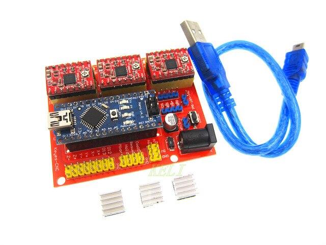O envio gratuito de 1 lote CNC escudo v4 + 3 pcs A4988 driver + Nano CH340