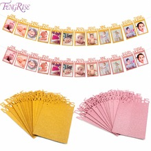 FENGRISE Baby First Birthday Monthly Banner Shower ONE Year Bunting Garland Newborn Boy Girl 1st Party Decorations