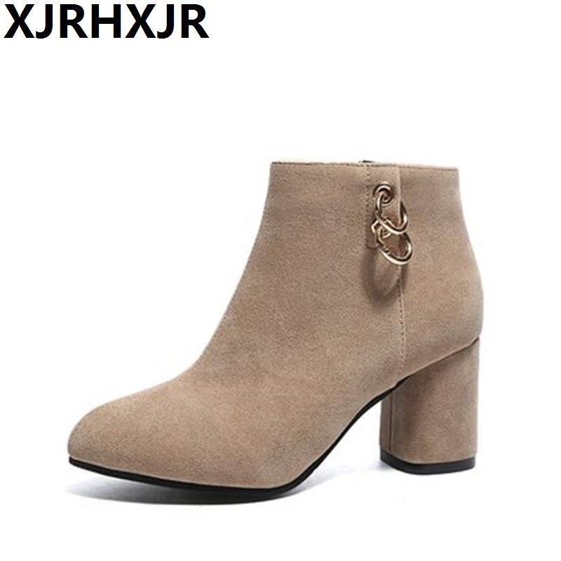 XJRHXJR Suede Leather Boots Women Short Ankle Boots Thick High Heel Boots Zip Winter Round Toe Ladies Shoes Large Size 35-43 ladies boots 2017 casual winter black suede round toe square heel ankle boots for women custum large size zipper shoes us 4 15 5