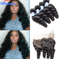 Indian loose wave with frontal 3 bundles with ear to ear lace frontal closure King hair products Indian virgin hair with closure