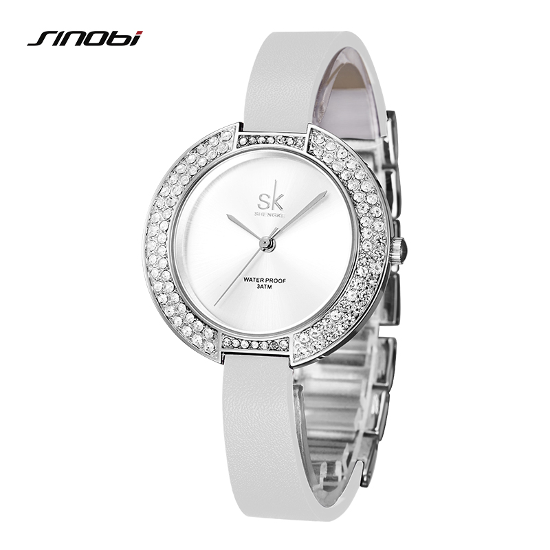 Shengke Women's Watches SK Top Brand Luxury Diamond Ladies Wrist Watch Women Watches Leather Strap Fashion Watch Clock Saat