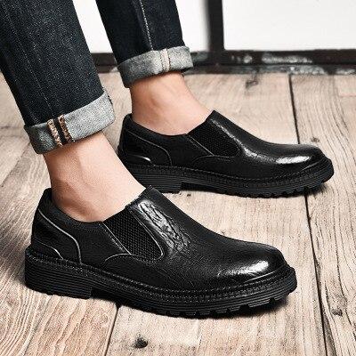 Tendência Moda Ferramentas Homens Não Couro Inglaterra Sapatos De Casuais deslizamento Outono Negócios Dos Black gray Nova pfXqxngg