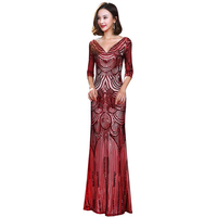 Plus Size Sequined Voile 2018 Women's Elegant Long Gown Party Proms For Gratuating Date Ceremony Gala Evenings Dresses Up A45 Z