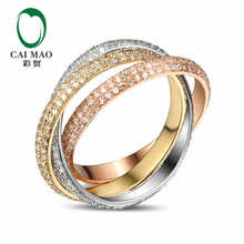 CaiMao 18KT/750 White&Rose&Yellow Gold 1.71 ct Full Cut Diamond Engagement Gemstone Wedding Band Ring Jewelry
