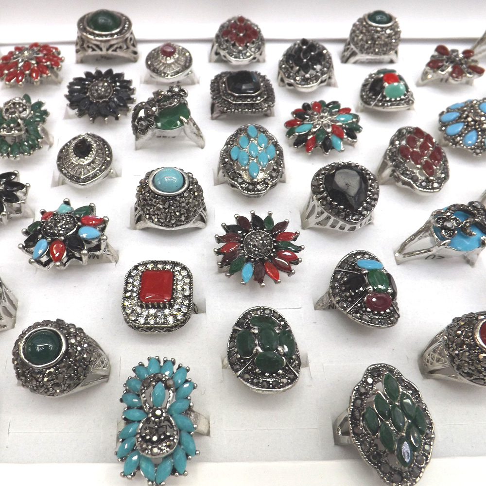 Vintage Designed Multicolor Resin Crystal Paved Rings Chinese Ethnic Jewelry 50pcs lot