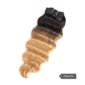 Image 5 - Sleek Nature Hi Deep Hair 1 Piece Only Brazilian Deep Wave Human Hair Weave Bundles Deal P6 27 T1B 99J Ombre Remy Hair Extension