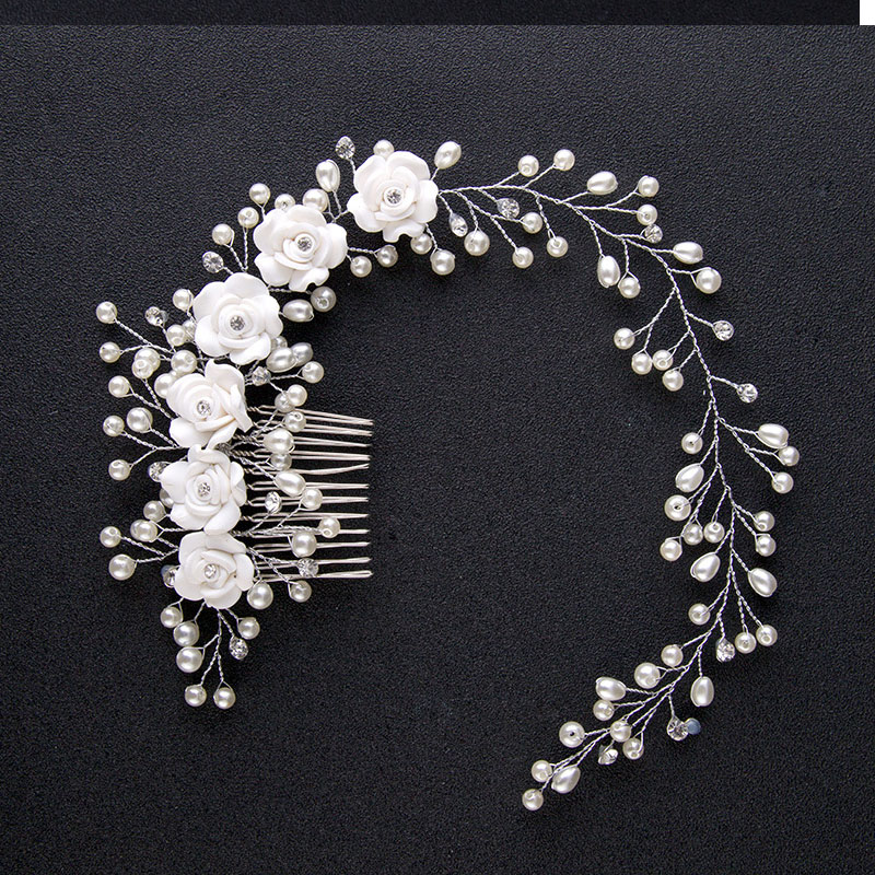 Luxury Wedding Hair Jewelry For Bridal Pure White Flowers Pearl Hair Comb Lengthen Headdress Hand Made Women Hair Accessories SL