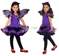 Shanghai Story Fancy Masquerade party cosplay purple dress Vampire costume Halloween evening party costume with wing headband