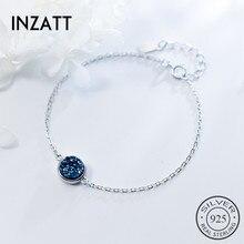 INZATT минималистичный браслет из друзы и камня кианит, настоящее 925 пробы, серебро, индивидуальные аксессуары для женщин, хорошее ювелирное изделие, подарок