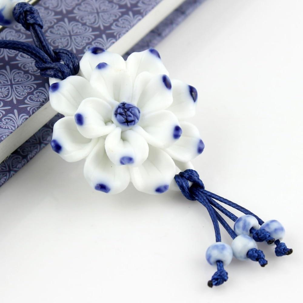 Handmake Vintage Lotus Flower Pendant Kalung Sweater Rantai Biru dan - Perhiasan fesyen - Foto 4
