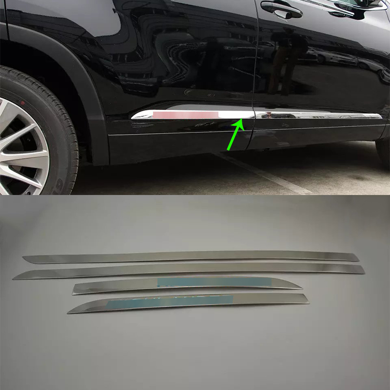 Car Accessories Exterior Stainless Steel Side Door Car Body Molding Strips Cover Trims For Toyota Highlander 2015 Car styling