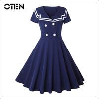 OTEN-elegante-women-s-dresses-Summer-Female-Short-sleeve-Sailor-Collar-Button-Vintage-Pin-up-Tea