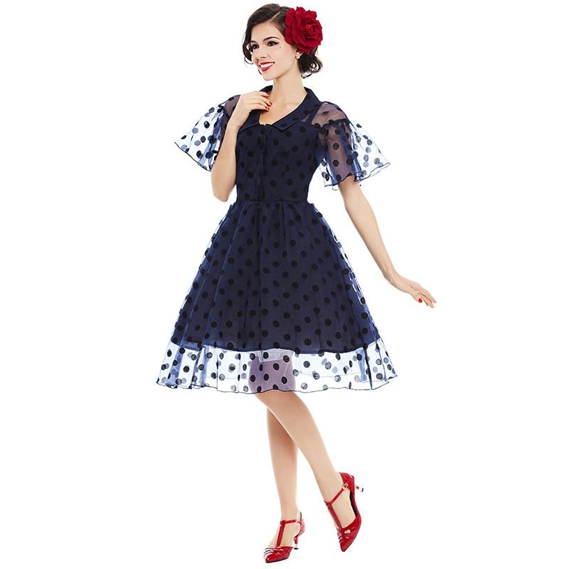 Sisjuly estilo vintage dress mujeres negro polka dot party vestidos de solapa a-