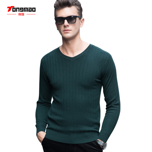 b2e056330e3 Pure wool solid color winter autumn men full v-neck pullovers Vertical  stripes Business Casual sweater
