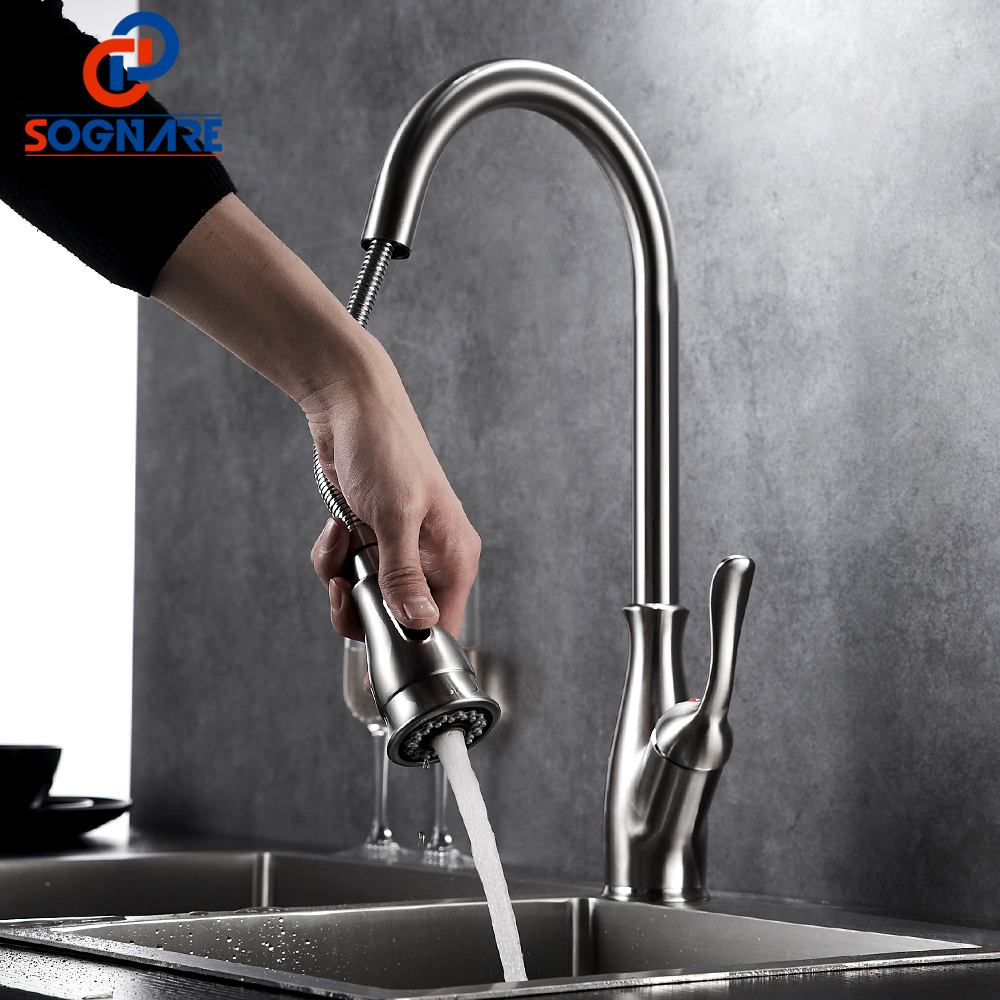 360 Degree Swivel Pull Out Kitchen Faucet Brushed Nickel Kitchen Mixer Water Tap Single Handle Rotation Spray Mixer Tap Torneira
