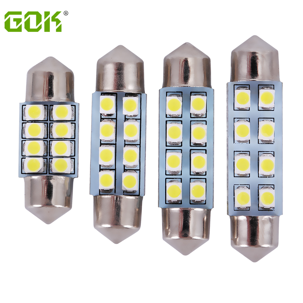 Free shipping 500pcs lot Car Auto Interior 8SMD 31mm 36mm 39mm 41mm White 3528 1210 SMD