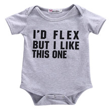 1pc Free Shipping Newborn Infant Baby Boys Girls Cotton Letter Print Bodysuit Jumpsuit Cotton Outfits Clothes Grey