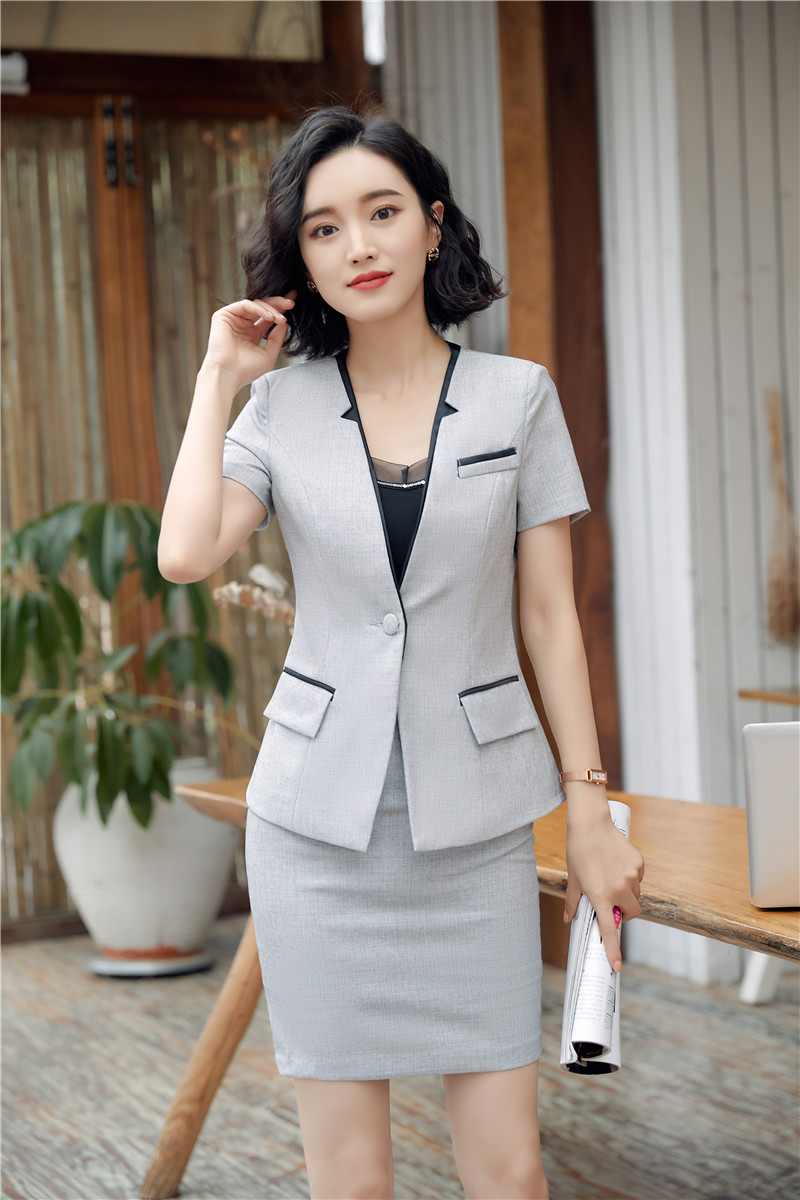2018 Sommer Mode Casual Grau Blazer Anzüge Mit Tops Und Rock Für Business Frauen Uniform Styles Professionelle Rock Sets