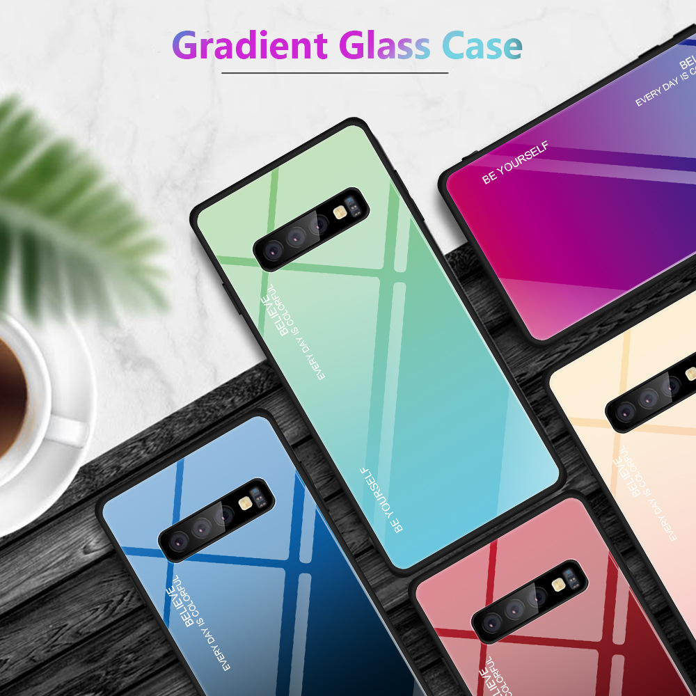 Tempered Glass Case For Samsung Galaxy A5 A6 A7 A8 A9 Plus 2018 Aurora Colorful Cover For Samsung A10 A20 A50 A520 A720 A8S Case in Fitted Cases from Cellphones Telecommunications