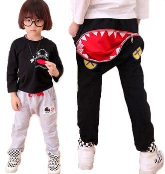 2017 Autumn Children Fashion Sharks Zipper Pocket Design Pants Autumn Harem Casual Long Pants Kids Clothing