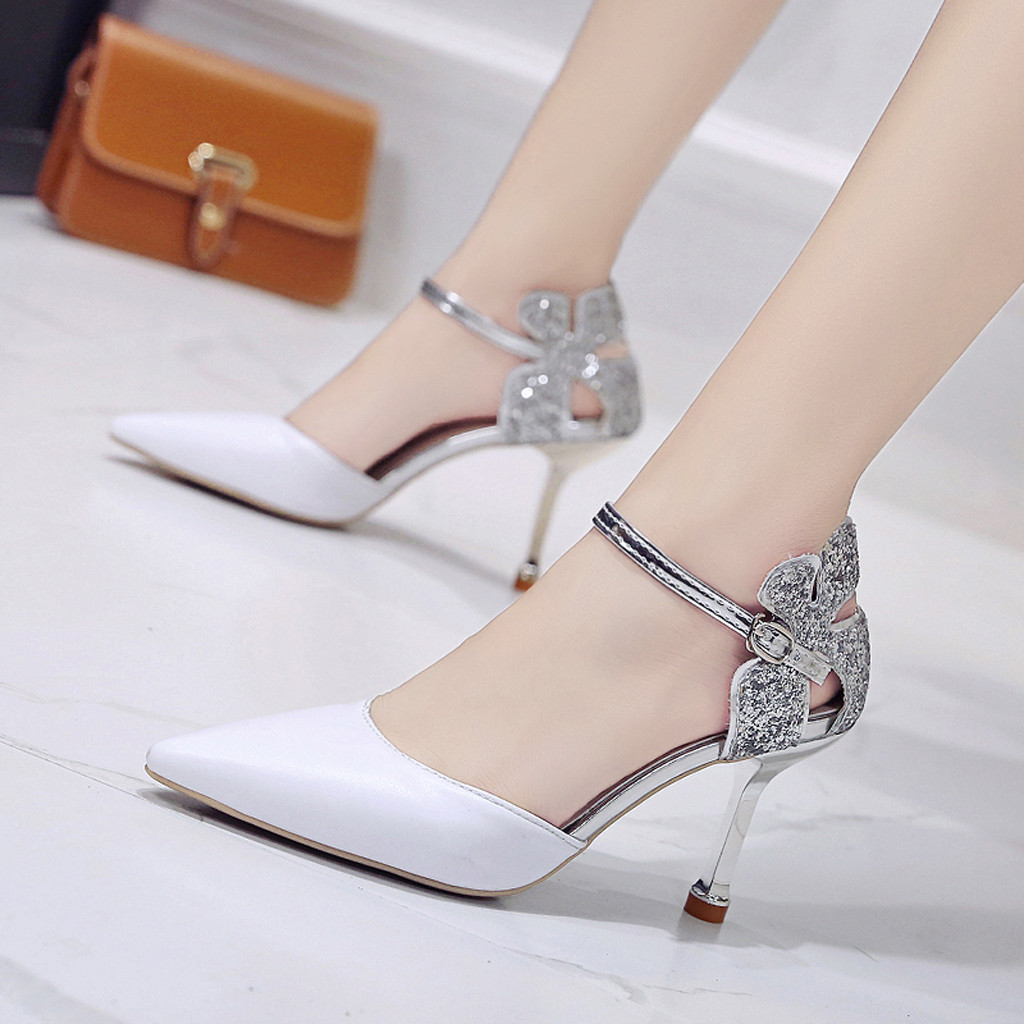 SAGACE Women's Sexy Thin Heels Pointed Rhinestones Ankle Buckle Shoes Fashion 2019 Mixed Colors Lady Sandals scarpe donna Jul10(China)
