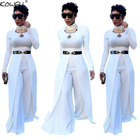 Hot Sale Women Jumpsuits For Women 2018 Wide Leg Pants Party Women Rompers O Neck Long Sleeve One Piece Overalls Jumpsuit
