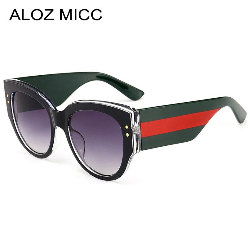 ALOZ MICC Luxury Crystal Women Sunglasses Retro Color Stripe Big Frame Round Glasses Women Trend 2018 Brand Design Eyewear Q481