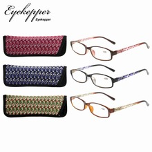 R908 Mix Eyekepper reader 3 Упаковка женских очков для чтения с красивым рисунком и мягкий чехол для женщин+ 0,50-+ 4,00