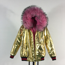 FASHION NEW style thick warm fur bomber coats pink fur gold leather jacket TOP quality winter women coat 2017 new lady coats winter jacket leather coat high quality and sexy women fashion thick coats thermal super warm jacket 2017