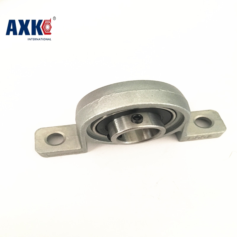 AXK 2pcs Zinc Alloy Diameter 8mm 10mm 12mm Bore Ball Bearing Pillow Block Mounted Support KP08 KP000 KP001 2pcs precision kp001 bearing shaft 12mm diameter zinc alloy pillow block mounted support ball bearings housing roller mayitr