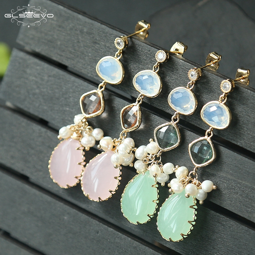 GLSEEVO Natural Jade Long Drop Earrings For Women Wedding Dangle Earrings Handmade Stone ...