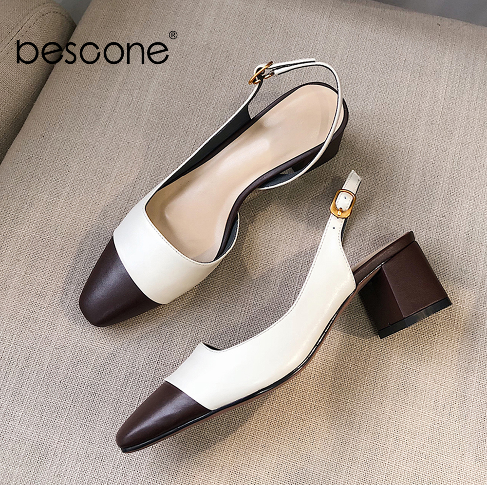 BESCONE Women Sandals Genuine Leather 6cm High Square Heel Female Sandals Comfortable Color Matching Office Dress