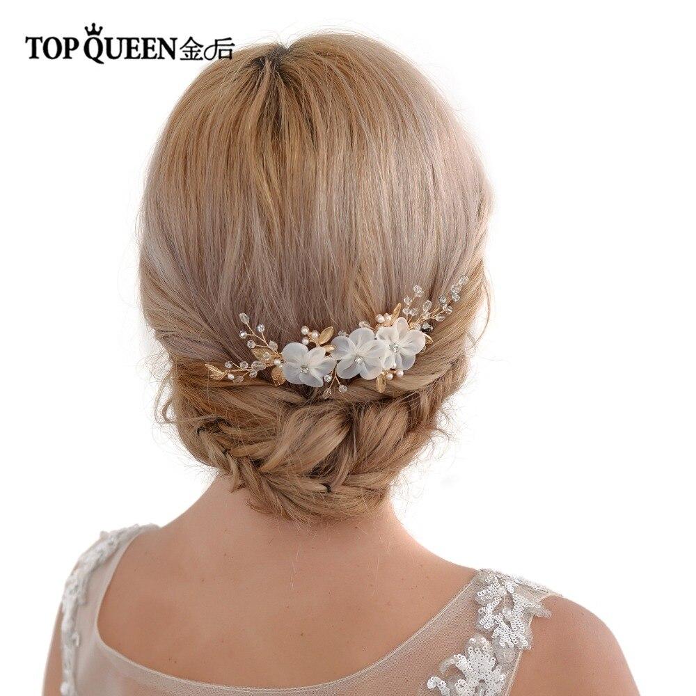 TOPQUEEN Wedding Hair Vine Organza Flower Bridal Comb Wedding Comb Bridal Hair Pieces Wedding Clip Gold Hair Piece HP76