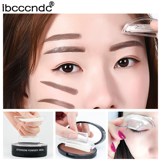 Drop shipping Eyebrow Powder Seal Eyebrow Shadow Set Waterproof Eyebrow Stamp Natural Shape Brow Stamp Powder Palette Delicated 1