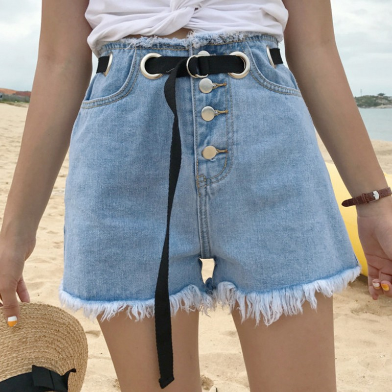 EXOTAO Fashion Denim   Shorts   Tassels Women Hight Waist Buttoned Jeans Sequin   Short   Pants Casual Pantalones Femme 2017 Summer