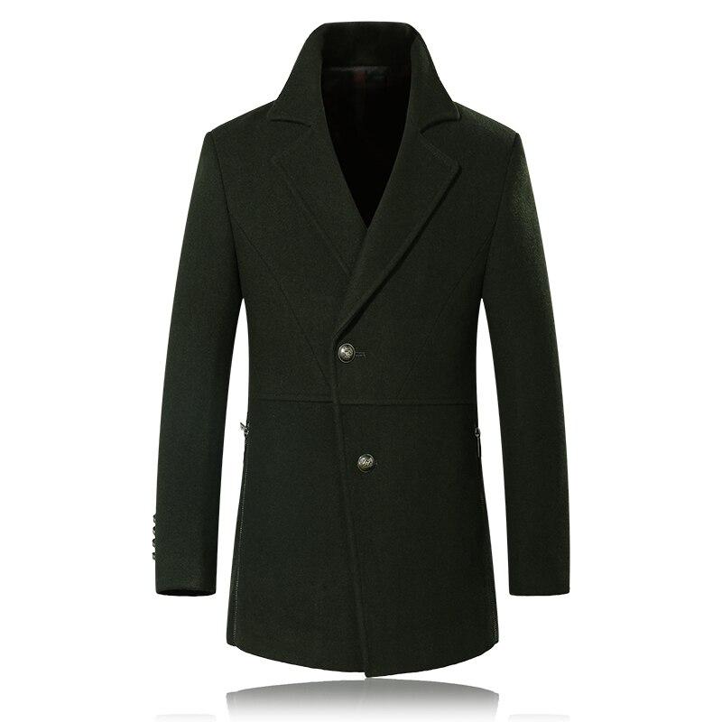 2017 winter 50% Wool army green men's trench coat Men single Breasted Trench Men Outerwear Casual Coat Men's Jacket Windbreaker