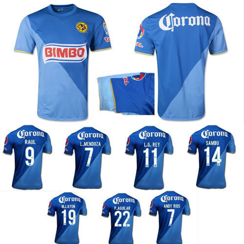 147316a9569 Mexico club 14 15 America football shirt club America half dark blue and  half light blue jersey soccer RAUL SAMBU uniforms