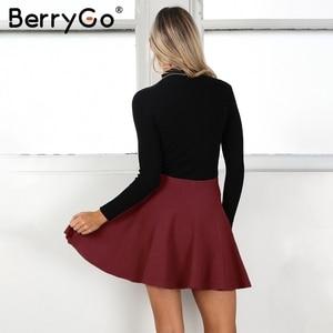 Image 5 - BerryGo עטוף קפלים סרוג מיני חצאיות נשים החורף אלגנטי קצר חצאית גבוהה מותן חצאיות נקבה 2018