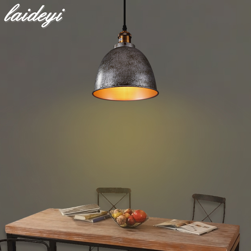LAIDEYI Vintage Edison Bulb Pendant Lamp Iron Light Cover Lighting Fixture For Restaurant Living Room Bar Cafe Decoration edison inustrial loft vintage amber glass basin pendant lights lamp for cafe bar hall bedroom club dining room droplight decor
